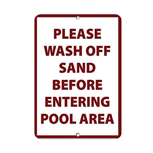 Tamengi Please Wash Off Sand Before Entering Pool Area Aluminum Metal Sign