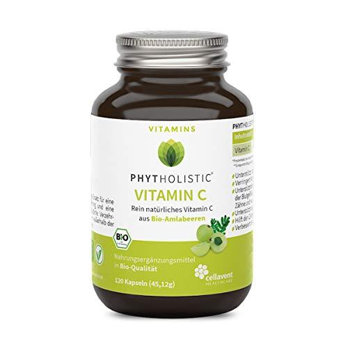 BIO-Vitamin C von Phytholistic: rein natürlich aus Bio-Amla-Beeren - Die neue Vitamin-C-Generation - veganes Vitamin-C OHNE künstliche Zusätze von Cellavent Healthcare - 120 Vitamin C Kapseln