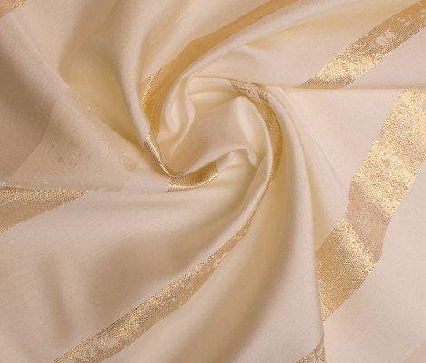 Mixibaby Übergardinenstoff in Cream Ton mit Breiten Goldenen Streifen
