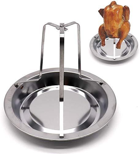 Voarge - Asador de pollo de acero inoxidable, con asador vertical, placa de horneado, antiadherente, soporte para barbacoa
