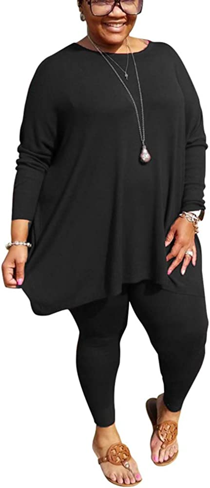 Plus Size 2 Piece Outfits for Women Tracksuit Long Sleeve Tunic Tops Bodycon Long Pants Loungwear Set