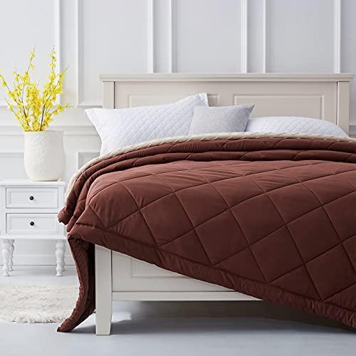 SunStyle Home Quilt Queen Tagesdecke, wendbar, für alle Jahreszeiten, weich, gemütlich, gesteppt, Sommerdecke, Daunenalternative Bettwäsche (228,6 x 228,6 cm, Schokolade)