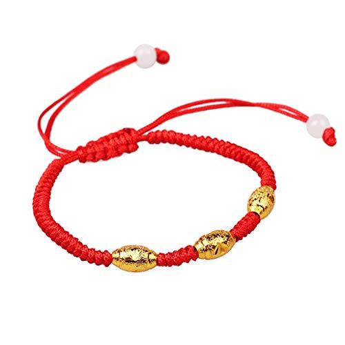 KOUJING Pulsera, hecha a mano de la cuerda roja de la Cabalá de la protección de los ojos tres de la suerte