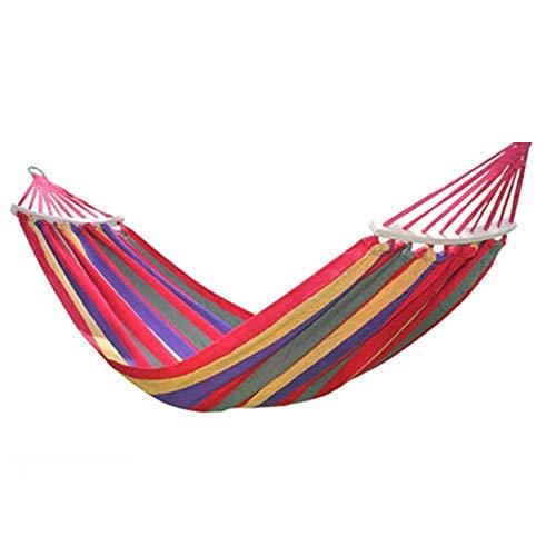 Anas Doppel-Hängematte - Zwei-Personen-Bett für Garten, Veranda, Außen- und Innenbereich - Weicher gewebter Baumwollstoff für höchsten Komfort (Color : Red Stripe)