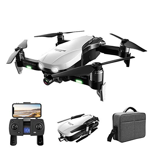 XIAOKEKE GPS Pieghevole Brushless GPS Drone con Telecamera 4K (16MP) Lente Grandangolo,5Ghz WiFi FPV, Durata Batteria 28 Minuti, Telecomando Schermo LED, Borsetta