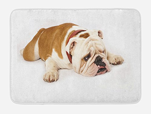 Ambesonne English Bulldog Bath Mat, Sad and Tired Bulldog Laying Down European Pure Breed Animal Photography, Plush Bathroom Decor Mat with Non Slip Backing, 29.5' X 17.5', Brown Cream