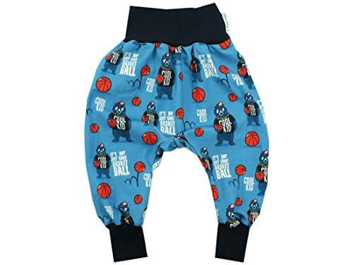 Kleine Könige Pumphose Baby Jungen Hose · Modell Basketball Bär Cool Kid blau, Marine · Ökotex 100 Zertifiziert · Größe 122/128