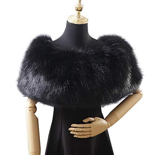 Asudaro Bufanda de Piel Sintética Mantón Estola de Invierno para Mujer Cálida Espesar Ensanchar Color Sólido Invierno Bufanda de Felpa para Fiesta Novia Bodas, Negro