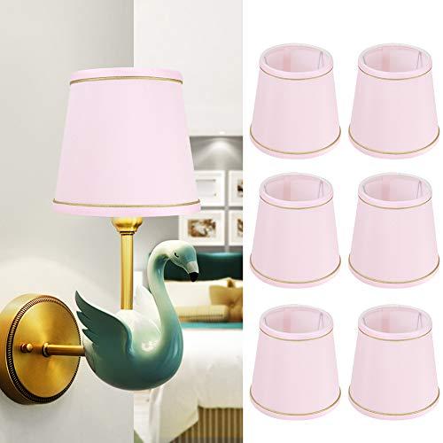 6 Stück Lampenschirme, Moderne LED-Wandleuchten im einfachen Stil Lampenschirme mit Goldrand, nordische einfache Art-Decor-Stoff-Lichtabdeckung für 14mm E14 Wandleuchte Kronleuchter Tischlampe (Rosa)