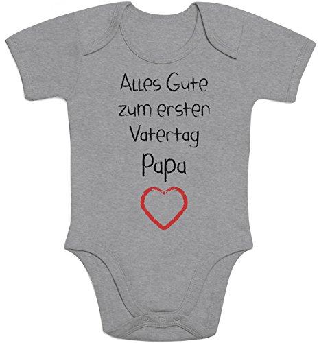 Shirtgeil Alles Gute zum ersten Vatertag Papa Herz - Vater Geschenk Baby Kurzarm Body 3-6 Monate Grau
