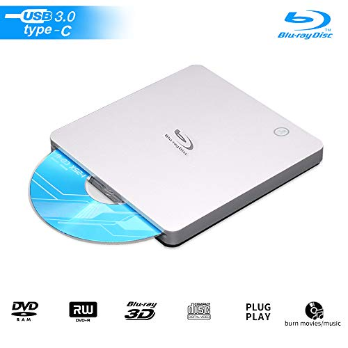 External USB Blu Ray Drive, USB3.0 and Type-c 3D Bluray BD CD DVD Drive Burner Slim Slot-in Optical Player RW for Laptop Desktop MacBook OS Linux Windows XP 7 8 10 PC iMac Laptop