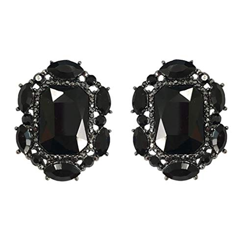 Rosemarie & Jubalee Women's Stunning Statement Emerald Cut Crystal Clip On Style Earrings, 1.25' black