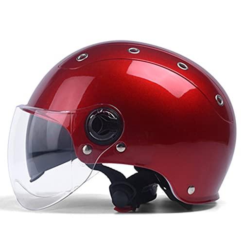 Motocicleta medio casco hombres y mujeres retro street ciclomotor jet casco verano vintage scooter protector solar ciclomotor eléctrico casco ventilación DOT/ECE aprobado,D