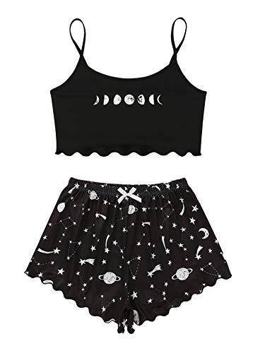SOLY HUX Women's Cartoon Print Lettuce Trim Cami Top and Shorts Cute Pajama Set Sleepwear Black Star Moon M