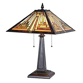 Cotoss Tiffany Table Lamp 16  Wide Handmade Stained Glass Lamp Shade 2 Light Amber Mission Style Vintage Table Lamp for Living Room Bedroom