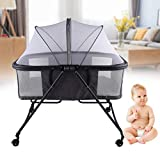 YIYIBYUS 110cm(43.31inch) Baby Electric Auto-Swing Bed, Skin Friendly Fabric Infant Rocker Cot with Remote Control,Newborns Sleep Bed Foldable Portable Net Universal Wheel Baby Carriage