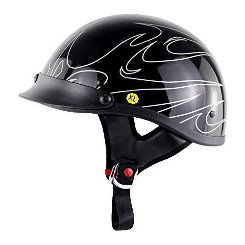 Stella Fella Casco de hombre a rayas llama motocicleta casco de coche eléctrico Harley-estilo personalidad medio casco al aire libre equitación verano casco cómodo y transpirable (tamaño: XL)