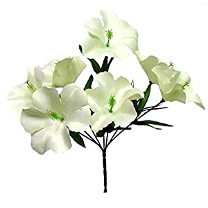 LINESS for 5X Hibiscus Artificial Silk Flowers Centerpiece Fake Faux Bouquet Party Tropical DIY LINESS for Wedding Flowers, Petals & Garlands Floral Décor – Color is Cream Ivory