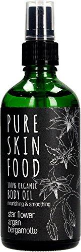 Bio Körper- & Massageöl von PURE SKIN FOOD | hält die Haut jung & elastisch | Pflegeöl mit Argan & Bergamotte | 100 % bio-zertifizierte Inhaltsstoffe & vegan | 100ml