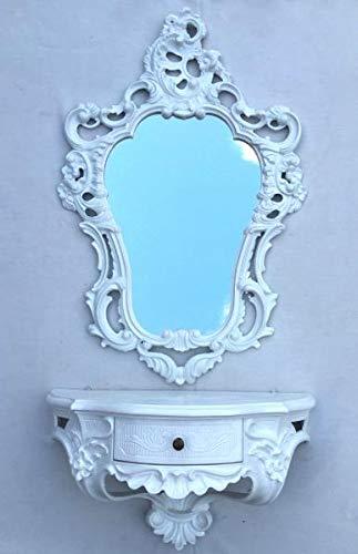 Artissimo Espejo de pared barroco con consola de pared, color blanco