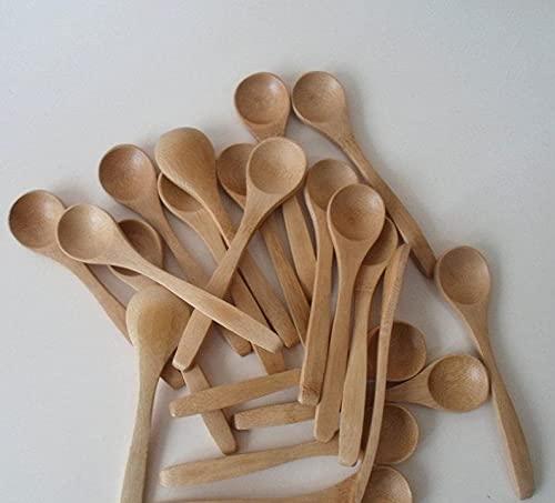 OUDE 10Pcs/Set 5.1inch Wooden Spoon Ecofriendly Tableware Bamboo Scoop Coffee Honey Tea Spoon Stirrer