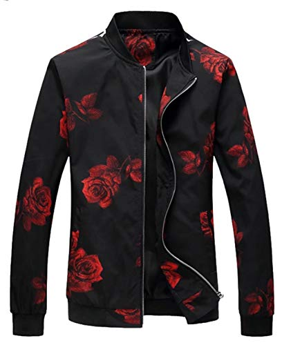EMAOR Mens Men's Zipper Rose Flower Fashion Print Floral Jacket Coat, Tag 6XL=US XL/48
