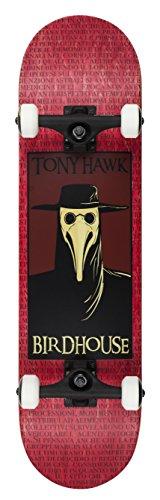Birdhouse Vogelhaus Skateboards Premium Qualität Tony Hawk Pest Arzt komplett Skateboard, Rot, 20,3cm