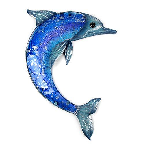 Gartentier Aus Metall Delphin Wandkunstwerk Mit Blauem Malglas Für Gartendekoration Statuen Und Skulpturen Im Freien 45.5 x 37.5 x 2.5 cm 04817