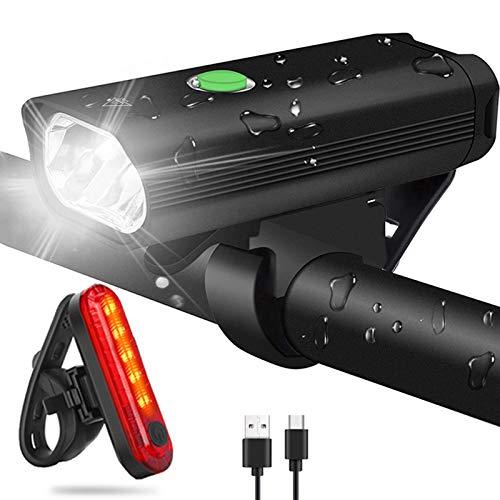 WQJifv LED Fahrradlicht Set, StVZO Zugelassen Superhelle 400 Lumen USB Wiederaufladbare Frontlicht und Rücklicht Set, 2000mAh Fahrradlampe IPX5 Wasserdicht Licht für Fahrrad