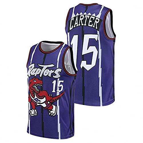 AGLT 2021 Hombre NBA Basketball Jersey, Raptors n#15 Carter Ropa de Baloncesto,Camisetas Al Aire Libre Casual Mujer Redondo CháNdales,Blue,M