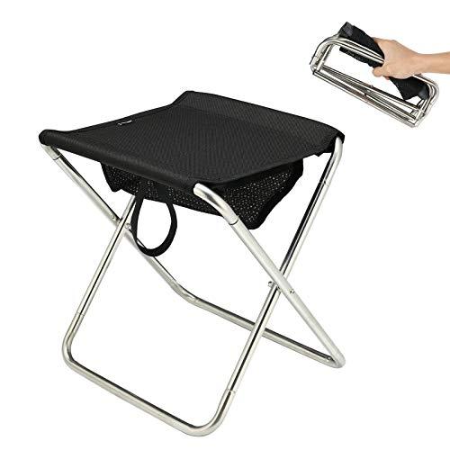 PELLIOT アウトドアチェア 折りたたみ 椅子 コンパクト 持ち運び 超軽量 携帯便利 バーベキュー 釣り 登山 キャンプ (Black)