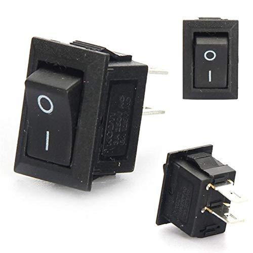 KQATCJ Interruptor basculante 20pcs / Lot 10 * 15 mm complemento de Encendido/Apagado Posición Snap Barco Rocker Interruptor de botón 3A / 250V para Coche, Barco, camión