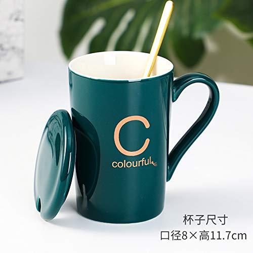 Heliansheng Taza de cerámica Lucky Letters Taza de Regalo práctica Creativa con Tapa Cuchara Taza de café -C-Tapa Cuchara Caja de Regalo