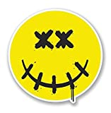 3 Pack - Dead Smiley Face WINDOW CLING STICKER Car Van Campervan Glass - Sticker Graphic - Construction Toolbox, Hardhat, Lunchbox, Helmet, Mechanic, Luggage