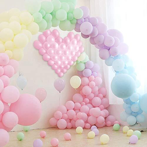 Pastel de látex Globos 120 piezas para niñas fiesta con globos Strip Tape, rejilla en forma de corazón, lazo de globo y guirnalda