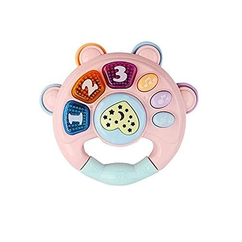 Pädagogisches Klavier Musik Spielzeug,Baby Gitarren Spielzeug Baby Rassel Spielzeug mit Lichtern und Musik für 0-3 Einjahresgeschenk (rattle,pink)