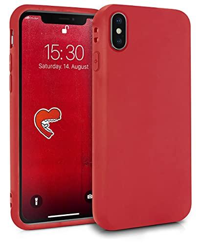MyGadget Coque Silicone pour Apple iPhone X/XS - Case TPU Souple & Soft - Cover Protection Extra Fine & Légère - Étui Coloré Anti Choc et Rayures - Rouge