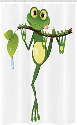 ABAKUHAUS Tier Schmaler Duschvorhang, Frosch auf AST Jungle, Badezimmer Deko Set aus Stoff mit Haken, 120 x 180 cm, Grünes weißes Gelb