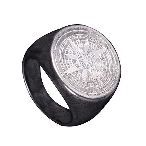PAURO Herren Ring Edelstahl Retro Geheimnisvoller Runder Kompass Siegel Stern Altes Silber Größe 70 (22.3)