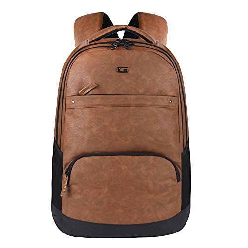 Gear Vintage2 Anti Theft Faux Leather 18 cms Tan Laptop Backpack (LBPVG2LTH1901)