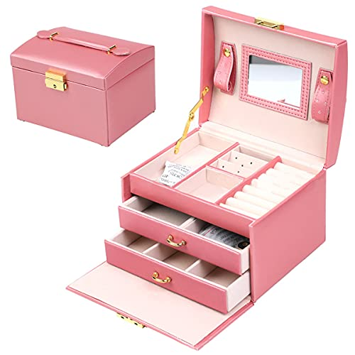 Women s Jewelry Box, Senior PU Leather, 3 Layer Medium Sized Jewelry Storage Box with Lock. Portable Travel Jewelry case for Earrings Bracelets Rings-Light Pink
