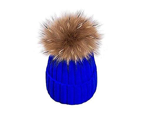 EXQULEG Warm Mütze, Echtfellbommel Pudelmütze,Winter-Mütze Bommelmütze Pelzbommel Waschbär Raccoon Pelz (Blau)