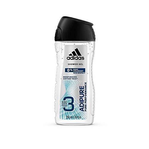 adidas adipure Duschgel für Herren 3-in-1 – Sanfte Reinigung von Körper, Haaren & Gesicht – pH-hautfreundlich – 4er Pack (4 x 250 ml)