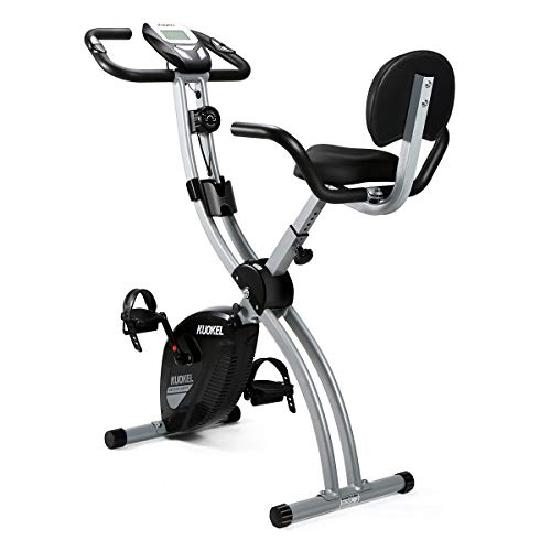 KUOKEL Folding Magnetic Upright Exercise Bike with Pulse/ Adjustable Resistance and Seat Height for Indoor Use Space Saving