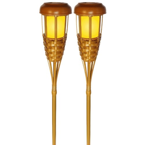 Newhouse Lighting TIKILED4 Solar Flickering LED Island Torches, Bamboo Finish, 4-Pack
