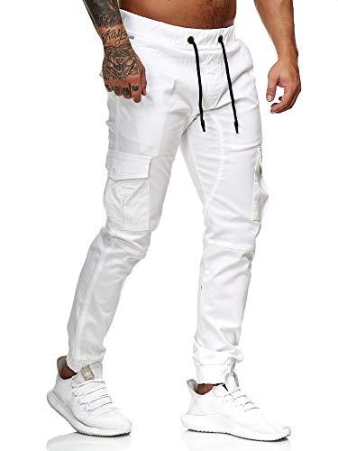OneRedox Herren Chino Pants Jeans Joggchino Hose Jeanshose Skinny Fit Modell 1033 Weiss 30