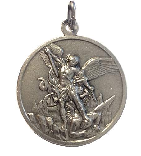 Medalla de San Miguel Arcángel - Hecha de Alto Relieve - Tamaño grande - Big Size - 32 mm