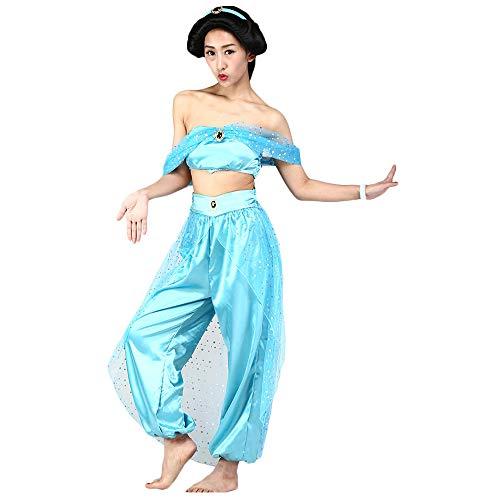 Fanstyle Prinzessin Jasmine Kleid Kleid Tanz Aladdins Lampe Organza Cosplay Kostüm 2St für Erwachsene
