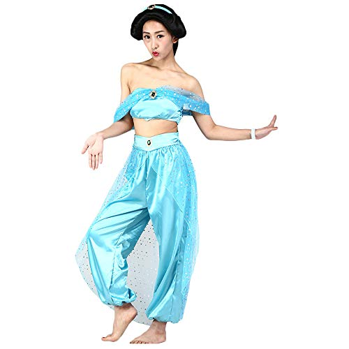 Fanstyle Disfraz de Cosplay de Halloween La Princesa Jasmine Traje Azul Aladdin Lamp Tops Pantalones 2pcs para Adultos