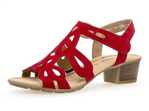 Gabor Damen Sandaletten 24.561.15, Frauen Sandaletten,Sommerschuhe,offene Absatzschuhe,hoher Absatz,Rubin,38 EU / 5 UK